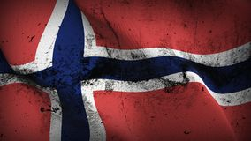 Norway grunge dirty flag waving on wind. Norwegian background fullscreen grease flag blowing on wind. Realistic filth fabric texture on windy day Royalty Free Stock Photos