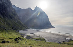 Norwegian beach. With mountains on a sunny day Royalty Free Stock Images