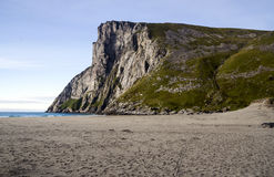 Norwegian beach. With mountains on a sunny day Stock Image