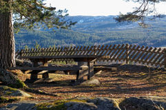 Norwegian bench with mountain view Royalty Free Stock Photography
