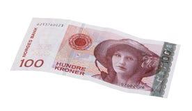 Norwegian bill. Norwegian 100 kroner bill isolated on white Royalty Free Stock Image