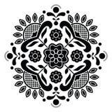 Norwegian Black Folk Art Bunad Pattern   Rosemaling Style Embroidery Stock Images