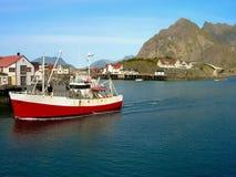Norwegian boat in lofoten island Stock Photos