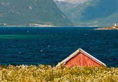 Norwegian boathouse Royalty Free Stock Photo