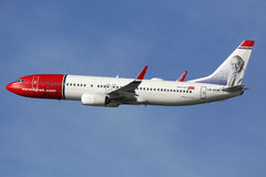 Norwegian Boeing B737-800 airplane. Barcelona, Spain - December 12, 2014: A Norwegian Boeing B737-800 aircraft with the registration LN-DYW taking off from Stock Photo