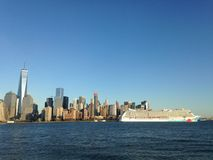Norwegian Breakaway Cruise Ship on Hudson River Leaving Manhattan. Royalty Free Stock Photography