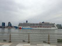 Norwegian Breakaway Cruise Ship on Hudson River Leaving Manhattan. Royalty Free Stock Photo