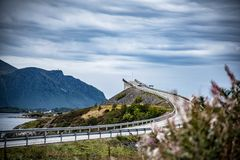 Norwegian bridge with optical illusion. One of 8 bridges of Atlantic Road in Norway with an optical illusion of a road to nowhere royalty free stock images