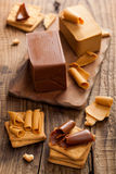 Norwegian brunost cheese Stock Images