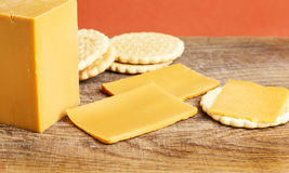 Norwegian brunost cheese with crackers Royalty Free Stock Photo