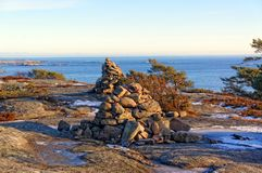 Norwegian cairn a man-made pile or stack of stones Royalty Free Stock Image