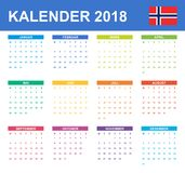Norwegian Calendar for 2018. Scheduler, agenda or diary template. Week starts on Monday.  Royalty Free Stock Photos