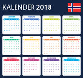 Norwegian Calendar for 2018. Scheduler, agenda or diary template. Week starts on Monday Royalty Free Stock Photo
