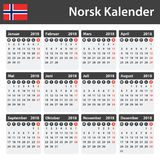 Norwegian Calendar for 2018. Scheduler, agenda or diary template. Week starts on Monday Royalty Free Stock Photography