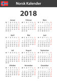 Norwegian Calendar for 2018. Scheduler, agenda or diary template. Week starts on Monday Stock Image