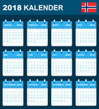 Norwegian Calendar for 2018. Scheduler, agenda or diary template. Week starts on Monday Royalty Free Stock Image