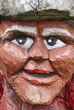 Norwegian carved wooden face detail troll. Scandinavian folklore Stock Image