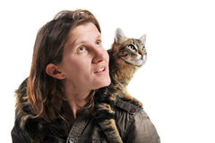 Norwegian cat and woman Royalty Free Stock Photography
