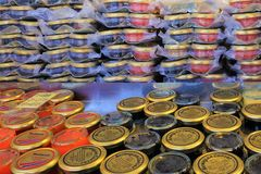 Norwegian Caviar Jars Of Roe At Bergen Fish Market 2018 Royalty Free Stock Photo