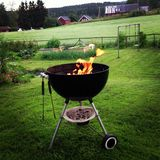 Norwegian charcoal barbecue summer Royalty Free Stock Image