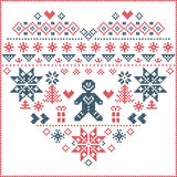 Norwegian Christmas and festive winter  pattern in cross stitch with Christmas tree, snowflake, gingerbread man. Heart Shape and inspired by  Norwegian Christmas Stock Photography