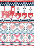 Norwegian Christmas and festive winter seamless pattern in cross stitch with gifts, gravy train,. Scandinavian Printed Textile style and inspired by Norwegian Stock Image