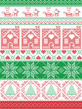 Norwegian Christmas, festive winter seamless pattern in cross stitch with gingerbread house, Christmas tree, heart, reindeer. Seamless Scandinavian Textile style Royalty Free Stock Photography