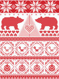 Norwegian Christmas and festive winter seamless pattern in cross stitch with polar bear, Christmas tree, heart, robin bird, bauble. Tall Scandinavian Printed Stock Photos
