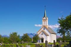 Norwegian church in Forvik, Norway. Traditional bright painted church in Forvik, Norway Stock Images