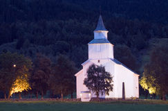 Norwegian church at night Royalty Free Stock Photos