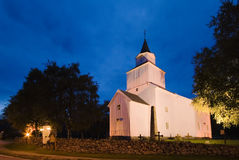 Norwegian church at night Stock Images