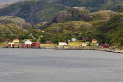 Norwegian coast with colored houses Royalty Free Stock Images