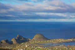 Norwegian coast. Picturesque norwegian town Sorland on island of Vaeroy, Lofoten islands, Norway Royalty Free Stock Images