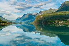 Norwegian coastline reflection Stock Photo