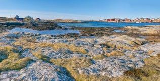 Norwegian coastline and waters with little underwater reefs royalty free stock image