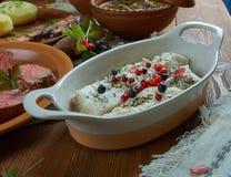 Norwegian Cod. Scandinavian cuisine. Norwegian Cod Traditional  Scandinavian  dishes, Top view. Northern European  food Royalty Free Stock Photos