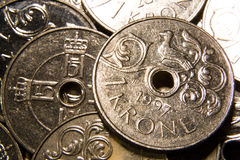 Norwegian coin pile stock images