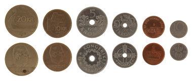 Norwegian Coins Isolated on White Stock Photos
