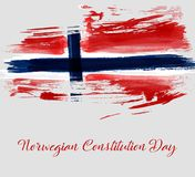Norwegian constitution day holiday. Background. Grunge watercolored flag of Norway. Template for holiday poster, flyer, banner, invitation, etc royalty free illustration