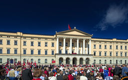 Norwegian Constitution Day parade at royale palace Royalty Free Stock Image