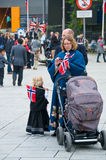 Norwegian constitution day. The people on the streets at norwegian constitution day stock photography