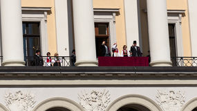 Norwegian Constitution Day royal palace balcony. OSLO - MAY 17: Norwegian Constitution Day is the National Day of Norway and is an official national holiday Royalty Free Stock Photos