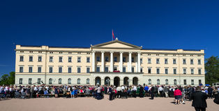 Norwegian Constitution Day with royals. OSLO - MAY 17: Norwegian Constitution Day is the National Day of Norway and is an official national holiday observed on Royalty Free Stock Image