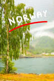 Norwegian country houses in the mountains on lake shore Stock Photos