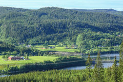 Norwegian country side. Aerial view  of agricultural area at the lake Selbu, Norway Stock Photo