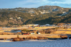 Norwegian country side. First winter snow, farms, mountain, fields in the sunny winter day Stock Image