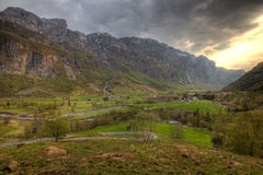 Norwegian countryside. Wide angle view in the countryside of southern Norway Royalty Free Stock Photo