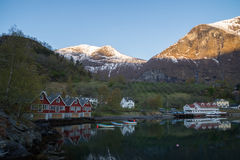 Norwegian countryside with apple orchard and guest houses Stock Images