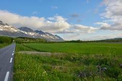 Norwegian Countryside. Seven sisters mountain range in Sandnessjøen, Norway Stock Image