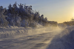 Norwegian County Road 86 in winter Royalty Free Stock Image